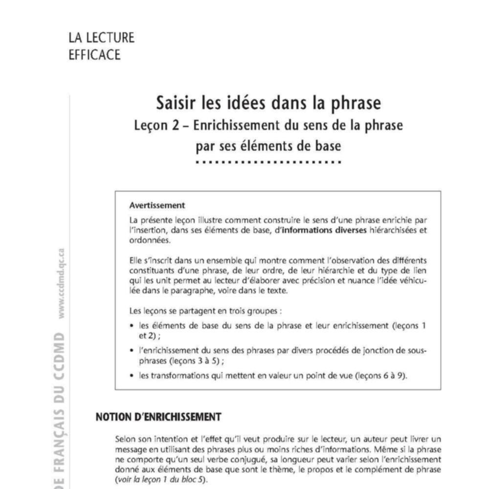 Le Moteur Du Fle Sur Le Theme 5 Saisir Les Idees Dans La Phrase