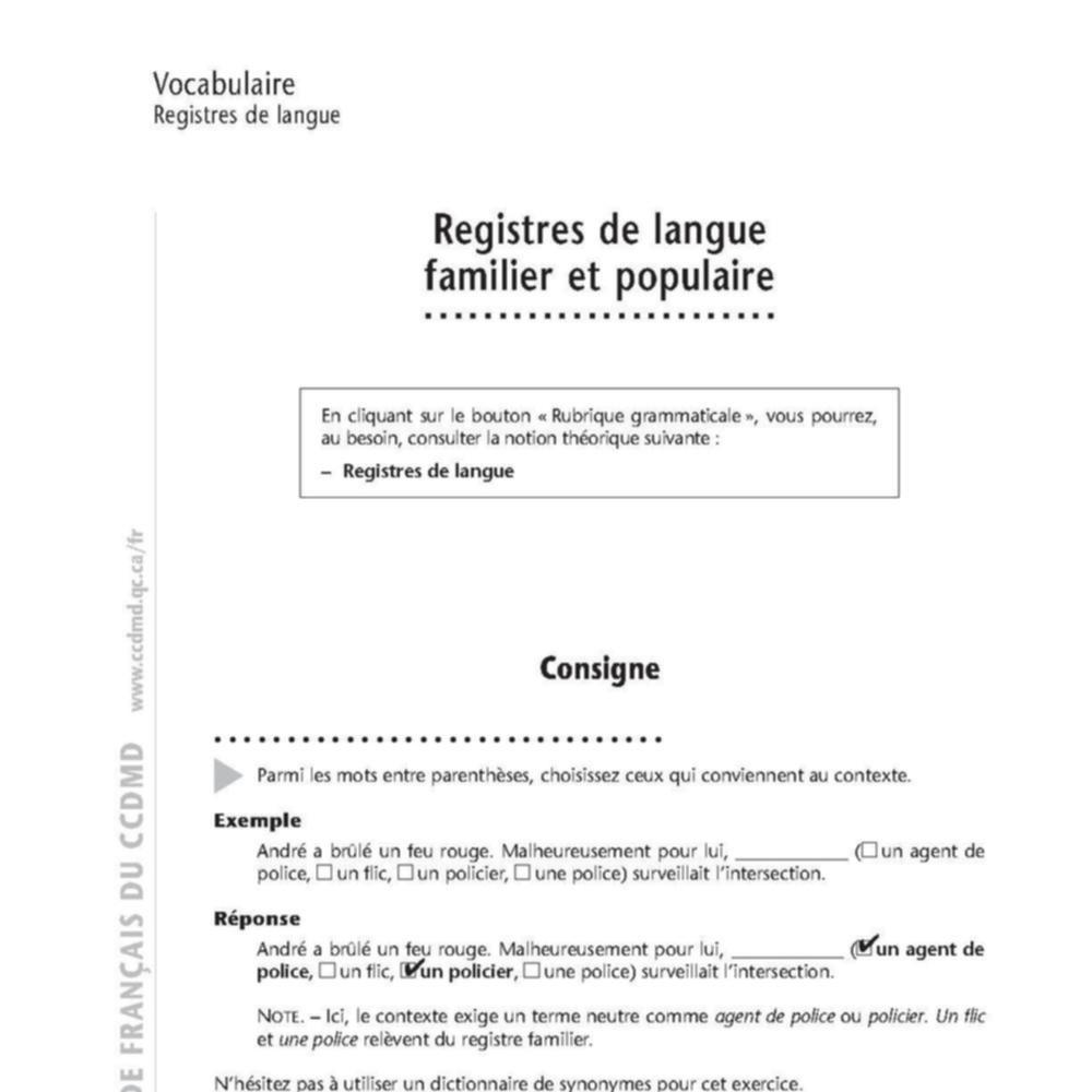 Le Moteur Du Fle Sur Le Theme Registres De Langue
