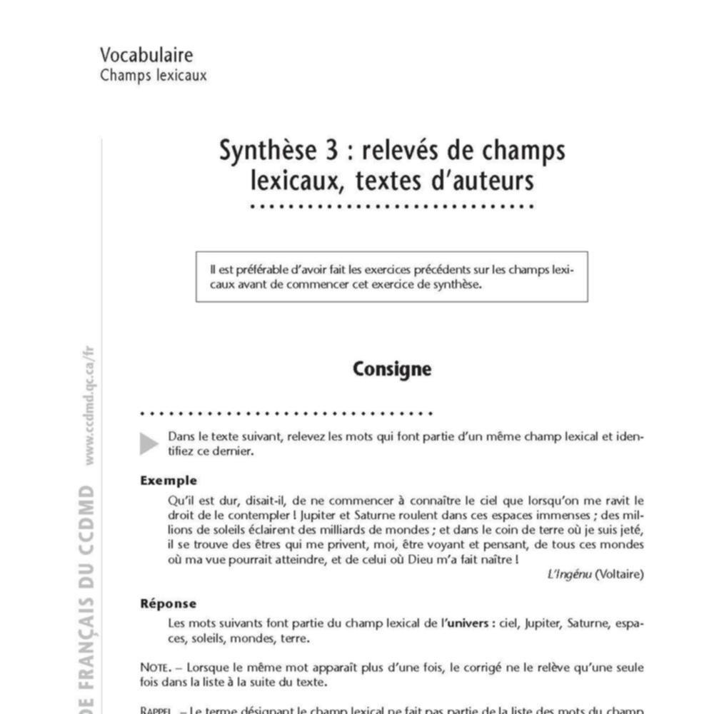 Le moteur du FLE : Synthèse 3 : relevés de champs lexicaux, textes d'