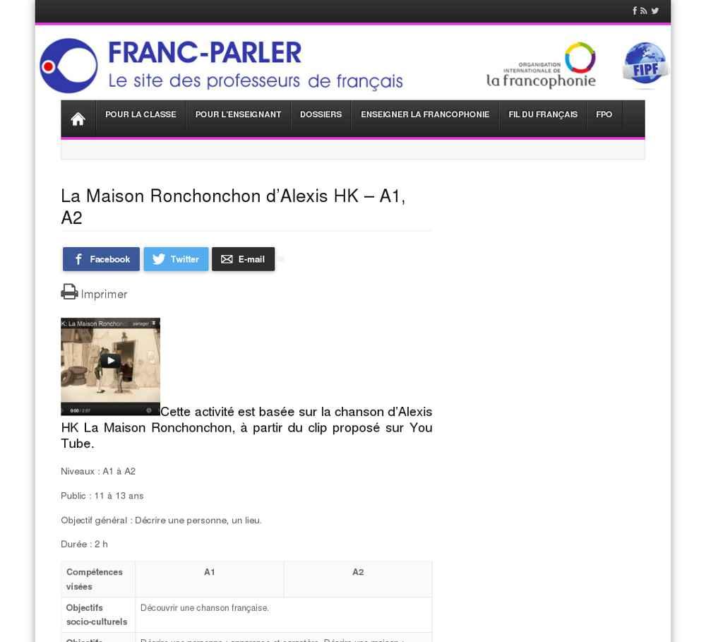 Le moteur du fle annuaire de ressources fle for Alexis hk la maison ronchonchon