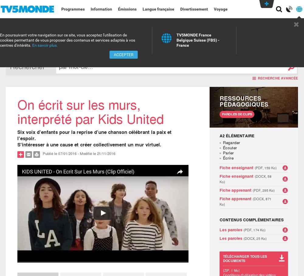 Le moteur du FLE sur le thème : Kids United