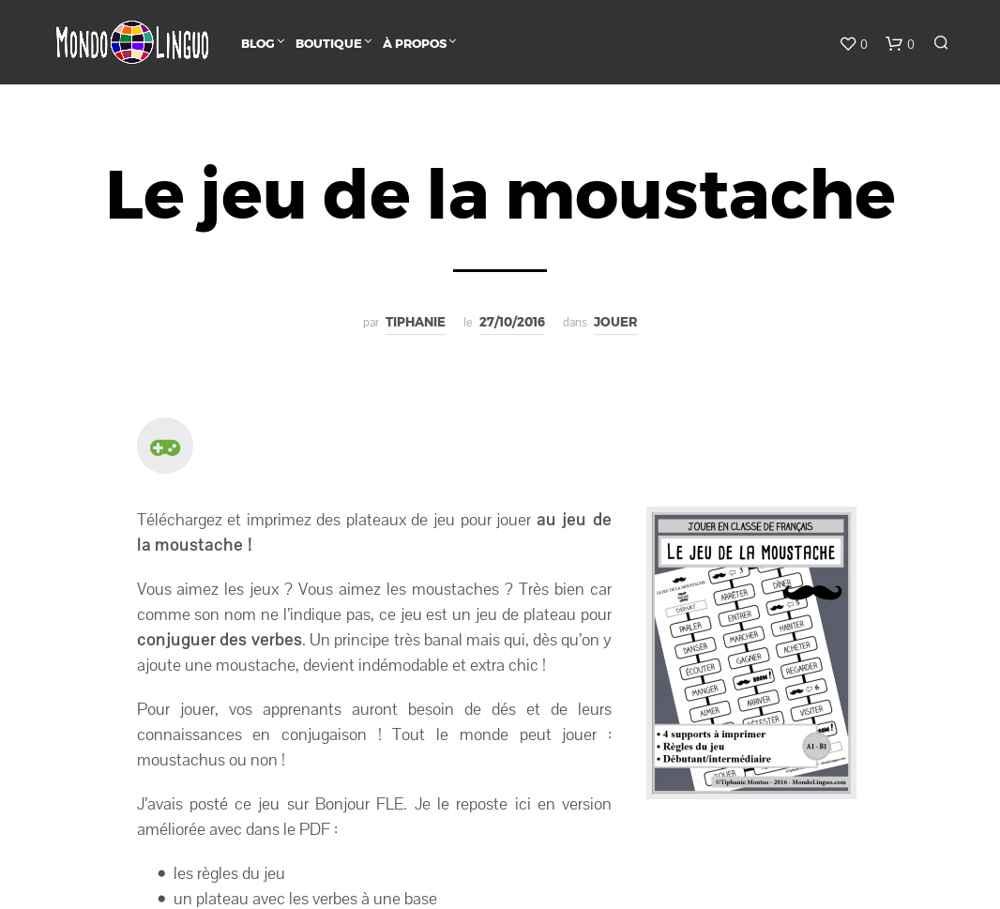 Extrem Le moteur du FLE : Le jeu de la moustache CU87